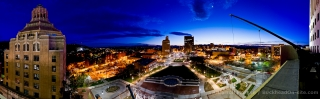 Asheville, NC Panorama from Buncombe County Courthouse Roof at Sunset