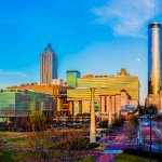 Moonrise, Centennial Olympic Park - a panoramic photo from Metro Atlanta Chamber of Commerce