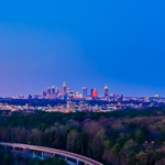 Panoramic photo of State Bank, Sovereign, MARTA, and Atlanta from JW Marriott Buckhead