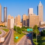 Early Atlanta Morning from Jackson Street Bridge, Including Alexan 360 - a panoramic photo of downtown Atlanta from the Jackson Street bridge